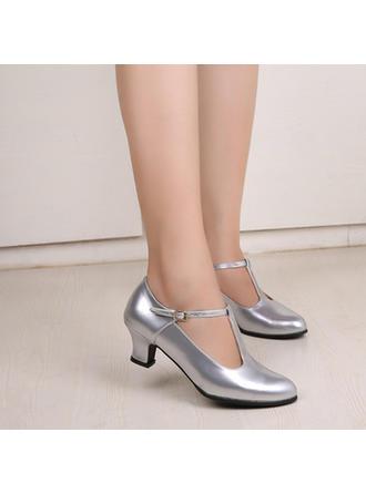 Frauen Charakter Schuhe Heels Kunstleder mit Schnalle Tanzschuhe
