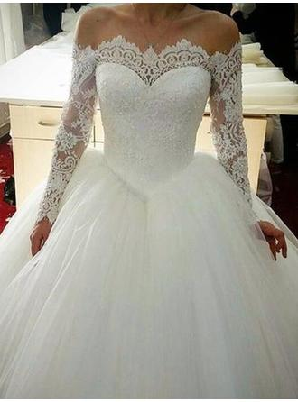 Modern Tulle Wedding Dresses Ball-Gown Chapel Train Off-The-Shoulder Long Sleeves