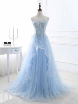 A-Line/Princess Sweetheart Sweep Train Tulle Prom Dress With Beading Appliques Lace Sequins