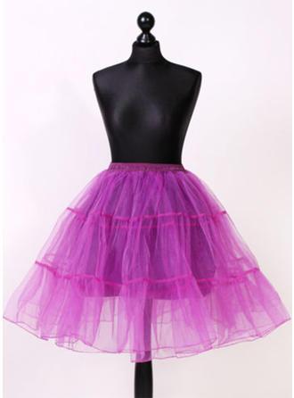 Bustle Knee-length Tulle Netting/Satin Half Slip 2 Tiers Petticoats