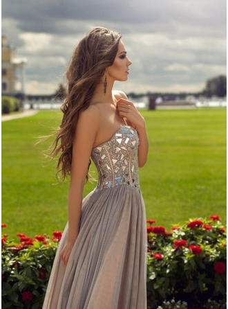 Modern Tulle Prom Dresses A-Line/Princess Floor-Length Sweetheart Sleeveless