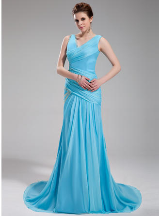 A-Line/Princess V-neck Court Train Evening Dress With Ruffle Beading