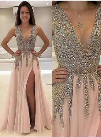 Chiffon Sleeveless A-Line/Princess Prom Dresses V-neck Beading Split Front Floor-Length (018146496)