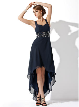 Elegant Chiffon Homecoming Dresses A-Line/Princess Asymmetrical Sweetheart Sleeveless