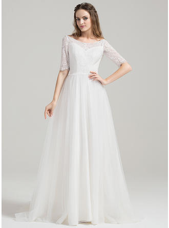 Delicate Sweep Train A-Line/Princess Wedding Dresses Off-The-Shoulder Tulle Lace