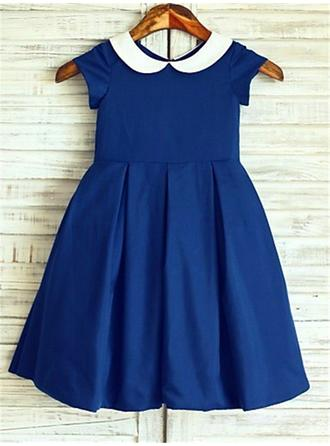 A-Line/Princess Peter Pan Collar Tea-length With Pleated Satin Flower Girl Dresses
