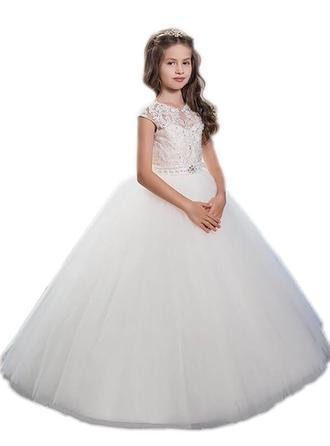 Ball Gown Scoop Neck Sweep Train With Beading/Appliques Tulle Flower Girl Dresses