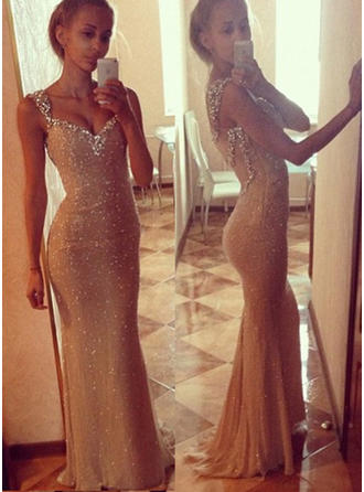 Sequined Sleeveless Trumpet/Mermaid Prom Dresses Sweetheart Beading Sweep Train (018146584)