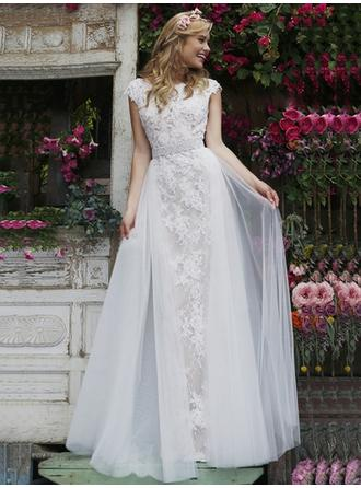 A-Line/Princess Scoop Neck Floor-Length Evening Dresses With Lace Sash Beading Appliques Lace