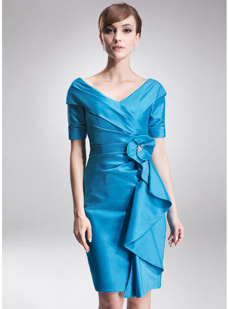 Sheath/Column Off-the-Shoulder Knee-Length Taffeta Mother of  ...