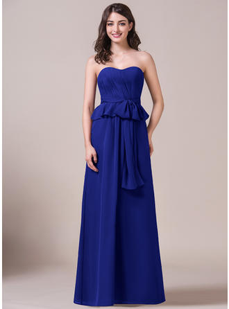 Chiffon Sleeveless A-Line/Princess Bridesmaid Dresses Sweetheart Bow(s) Cascading Ruffles Floor-Length