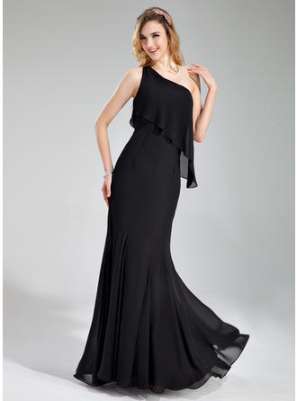 One-Shoulder Floor-Length Chiffon Elegant Bridesmaid Dresses