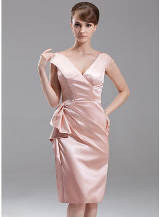 Sheath/Column V-neck Knee-Length Charmeuse Mother of the Bride Dress With Cascading Ruffles