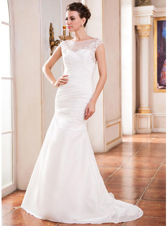 Chic Sweep Train Trumpet/Mermaid Wedding Dresses Scoop Taffeta Sleeveless
