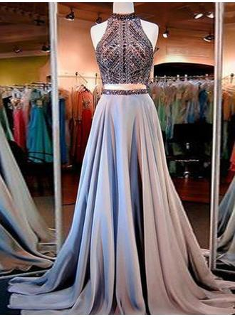 A-Line/Princess Satin Prom Dresses Beading High Neck Sleeveless Sweep Train
