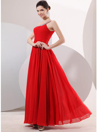 A-Line/Princess One-Shoulder Floor-Length Evening Dress With Ruffle Beading
