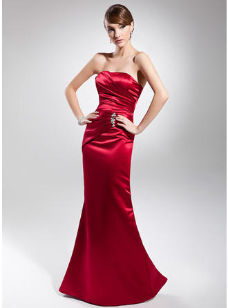 Trumpet/Mermaid Strapless Floor-Length Evening Dresses With Ruffle Beading