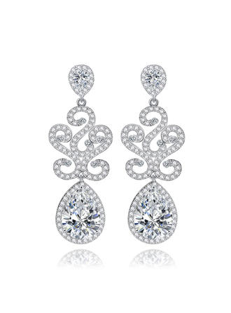 Earrings Copper/Zircon/Platinum Plated Pierced Ladies' Classic Wedding & Party Jewelry