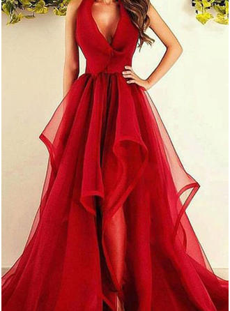A-Line/Princess V-neck Asymmetrical Sweep Train Tulle Prom Dress With Ruffle (002148405)