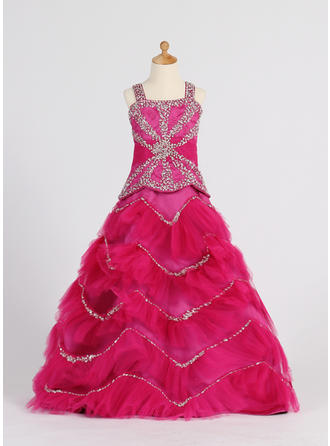 Ball Gown Straps Floor-length With Ruffles/Beading/Sequins Satin/Tulle Flower Girl Dress