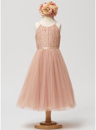 A-Line/Princess Scoop Neck Tea-length Tulle Sleeveless Flower Girl Dresses