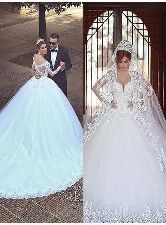Luxurious Tulle Wedding Dresses Ball-Gown Court Train Off-The-Shoulder Long Sleeves (002147999)