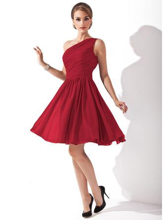 Chiffon Sleeveless A-Line/Princess Bridesmaid Dresses One-Shoulder Ruffle Bow(s) Knee-Length