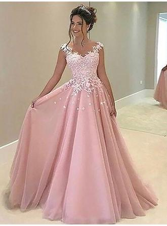 A-Line/Princess Sweetheart Floor-Length Tulle Prom Dress With Appliques Lace