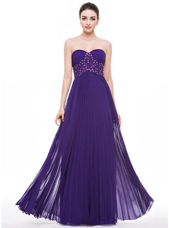 Chiffon Sleeveless A-Line/Princess Prom Dresses Sweetheart Beading Appliques Lace Sequins Pleated Floor-Length