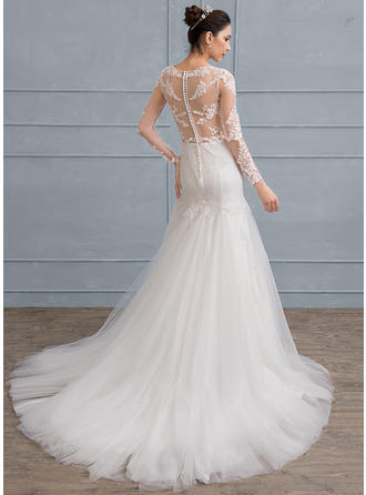 Trumpet/Mermaid Scoop Neck Court Train Tulle Lace Wedding Dress