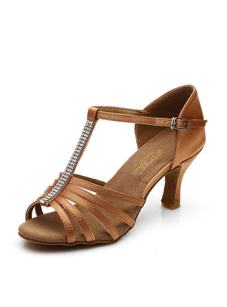 Women's Latin Heels Sandals Satin With T-Strap Hollow-out Dance Shoes