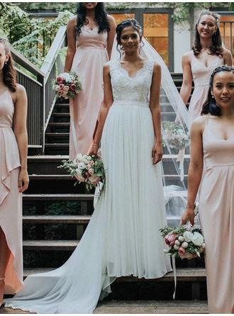 Simple Chiffon Wedding Dresses A-Line/Princess V-neck Sleeveless