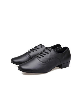 Men's Latin Ballroom Practice Pumps Real Leather With Lace-up Dance Shoes