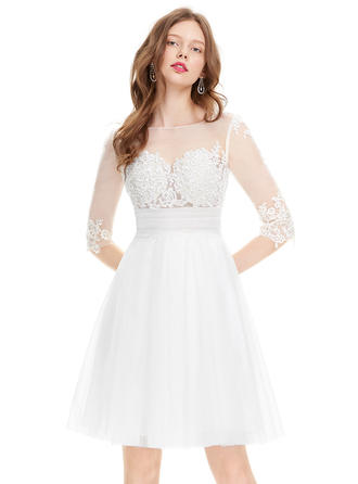 A-Line/Princess Scoop Neck Tulle 1/2 Sleeves Knee-Length Ruffle Beading Sequins Homecoming Dresses