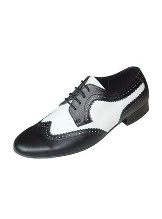 Men's Latin Ballroom Swing Flats Real Leather Dance Shoes