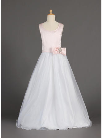 Flattering Floor-length A-Line/Princess Flower Girl Dresses Scoop Neck Organza/Satin Sleeveless (010002160)