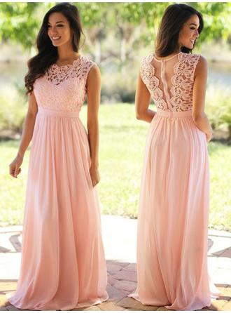 Chiffon Sleeveless A-Line/Princess Bridesmaid Dresses Scoop Neck Ruffle Floor-Length (007217579)
