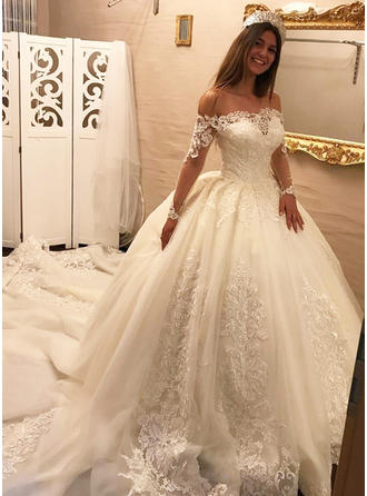 ba582b19e61 Ball-Gown Tulle Lace Long Sleeves Off-The-Shoulder Royal Train Wedding  Dresses
