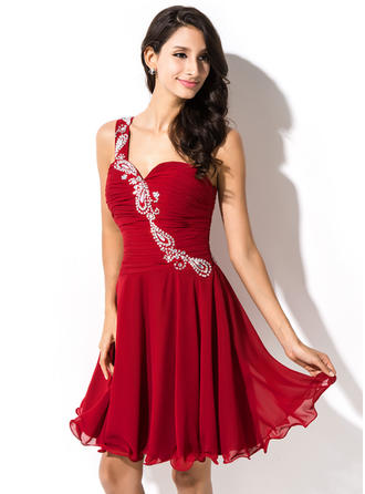 One-Shoulder Sleeveless Chiffon Chic Homecoming Dresses