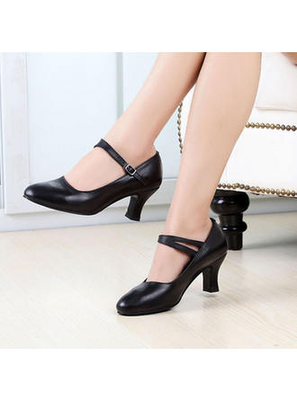 Women's Character Shoes Heels Real Leather With Buckle Dance Shoes
