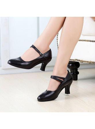 Frauen Charakter Schuhe Heels Echtleder mit Schnalle Tanzschuhe