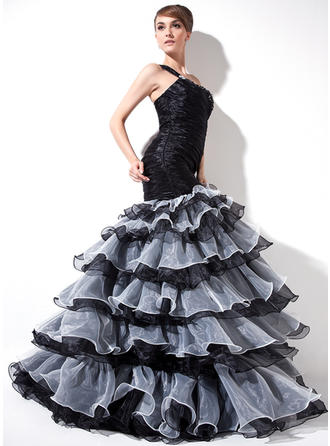 Organza Sleeveless Trumpet/Mermaid Prom Dresses One-Shoulder Ruffle Beading Split Front Cascading Ruffles Sweep Train