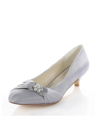 Women's Pumps Kitten Heel Silk Like Satin With Crystal Wedding Shoes