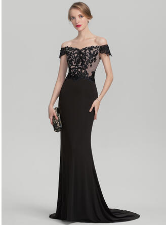 Trumpet/Mermaid Off-the-Shoulder Sweep Train Lace Jersey Evening Dress With Beading Sequins