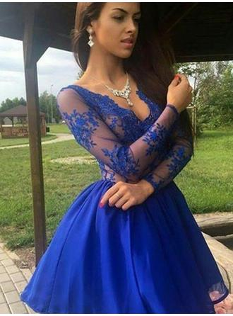 2019 New Homecoming Dresses A-Line/Princess Short/Mini V-neck Long Sleeves