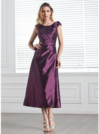 A-Line/Princess Scoop Neck Tea-Length Bridesmaid Dresses With Ruffle Beading Sequins