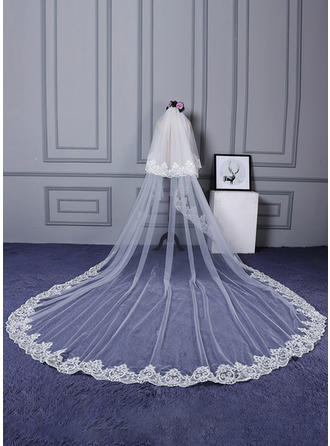 Two-tier Lace Applique Edge Cathedral Bridal Veils (006133867)