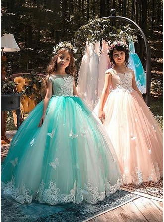 A-Line/Princess Square Neckline Floor-length Tulle/Lace Short Sleeves Flower Girl Dresses