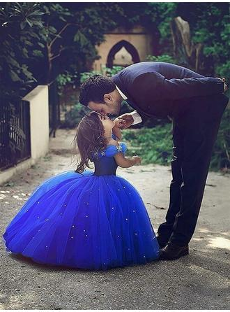 Ball Gown/A-Line/Princess/Ball Gown Off-the-Shoulder Floor-length With Beading Tulle Flower Girl Dress (010145257)