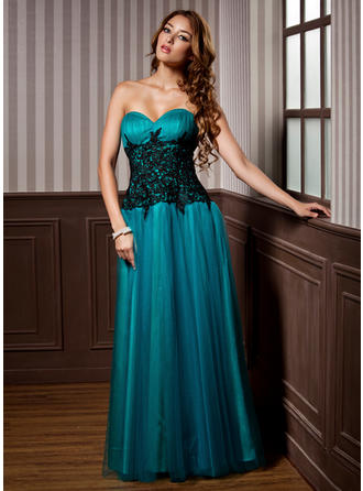 A-Line/Princess Sweetheart Floor-Length Evening Dress With Ruffle Lace